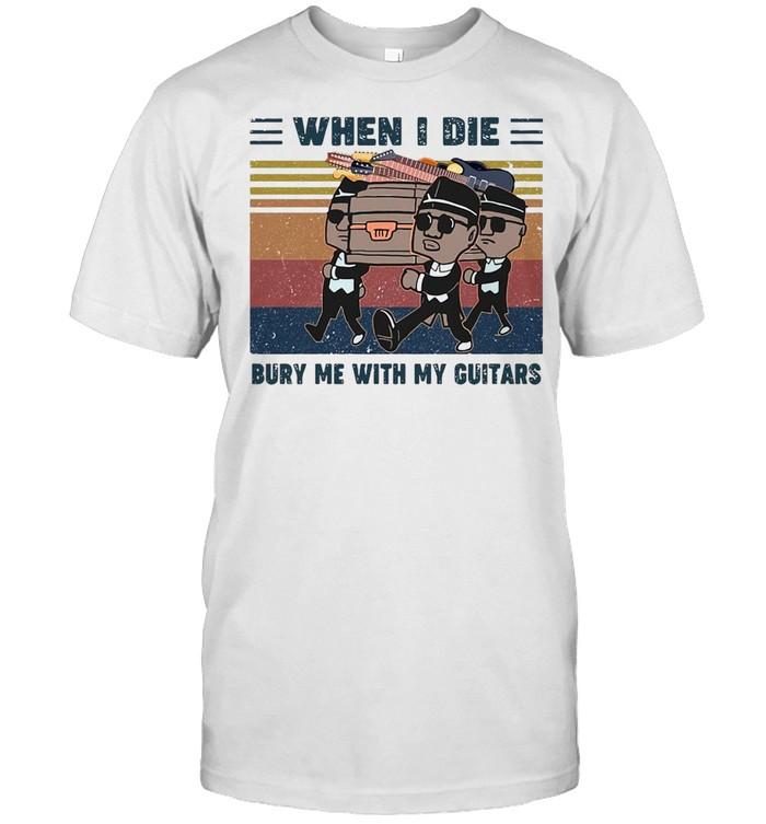 When I Die Bury Me With My Guitar Vintage Retro T-shirt Classic Men's T-shirt