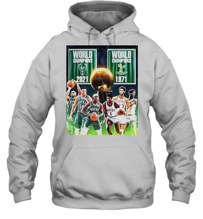1971 2021 Milwaukee Bucks 2x World Champions NBA shirt Unisex Hoodie