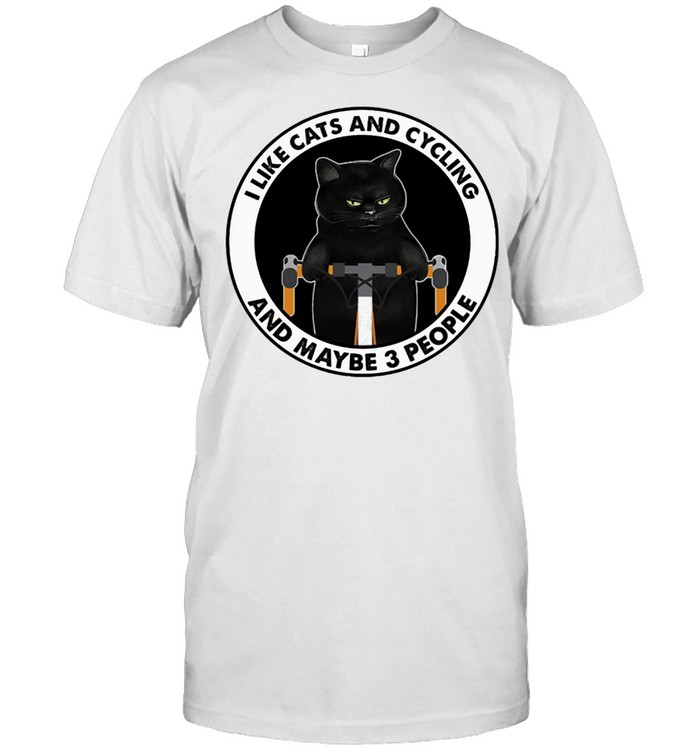 Black Cat Bicycle I Like Cats And Cycling And Maybe 3 People shirt Classic Men's T-shirt