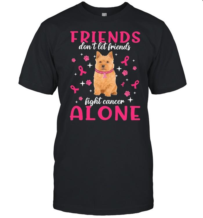 Norwich Terrier Friends dont let Friends fight cancer Alone Pink shirt Classic Men's T-shirt