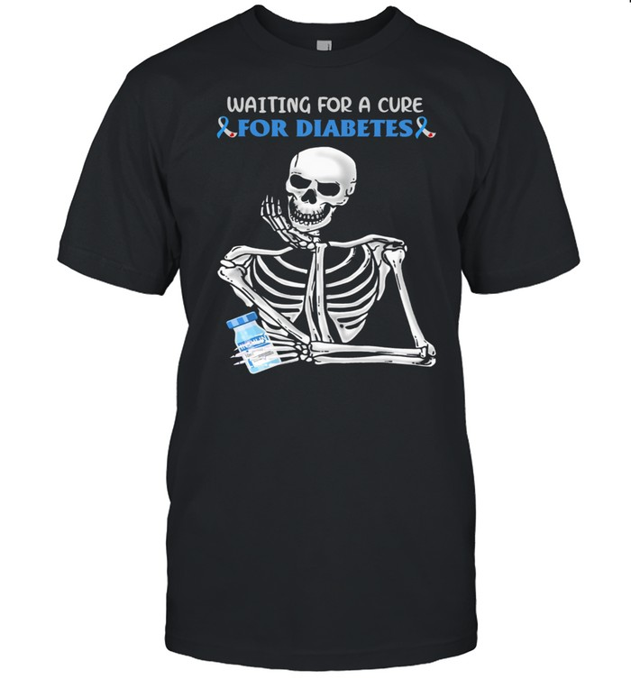 Skeleton waiting for a cure for diabetes awareness shirt Classic Men's T-shirt