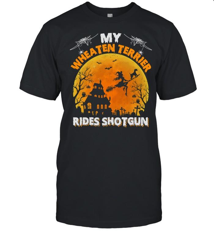 My Wheaten Terrier Rides Shotgun Wheaten Terrier Halloween shirt Classic Men's T-shirt